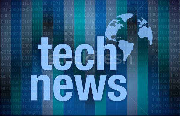Tech nieuws digitale illustratie ontwerp donkere business Stockfoto © alexmillos