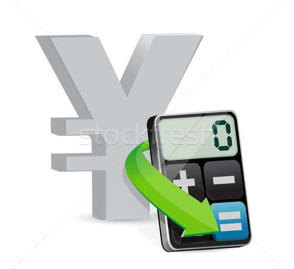 Yen modern hesap makinesi örnek dizayn beyaz Stok fotoğraf © alexmillos