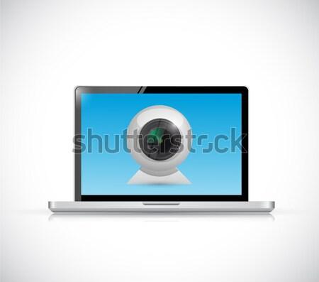Laptop Add a Friend icon illustration design  Stock photo © alexmillos