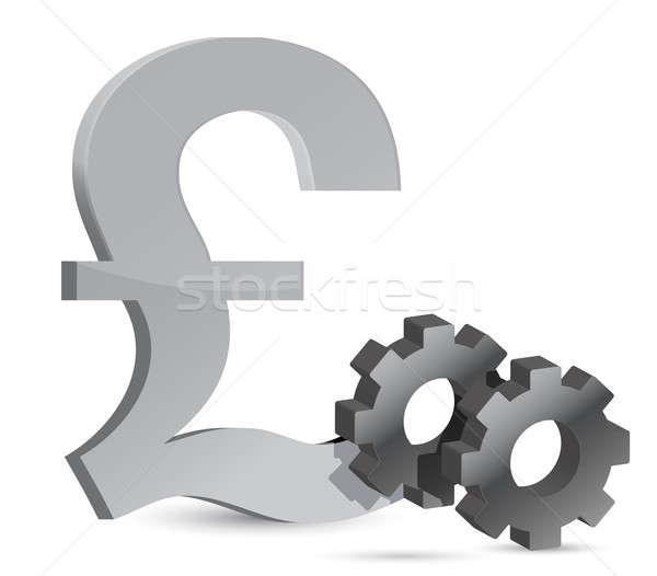 pound gears illustration design over white background Stock photo © alexmillos