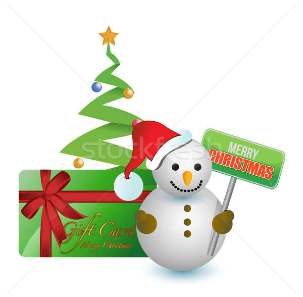 Snowman, tree and merry Christmas gift card  Stock photo © alexmillos