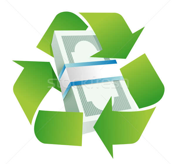 recycle monetary concept illustration design over a white backgr Stock photo © alexmillos