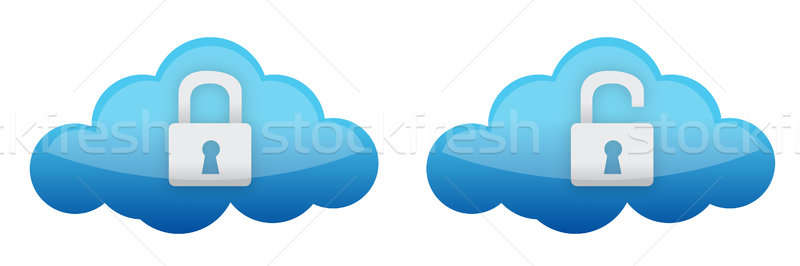 cloud computing lock and unlock illustration design over white Stock photo © alexmillos