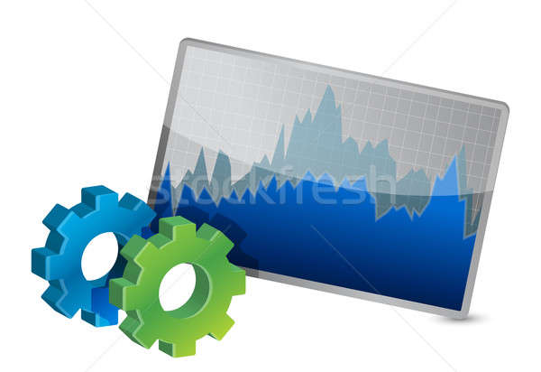 Stock Market Chart and gears  Stock photo © alexmillos