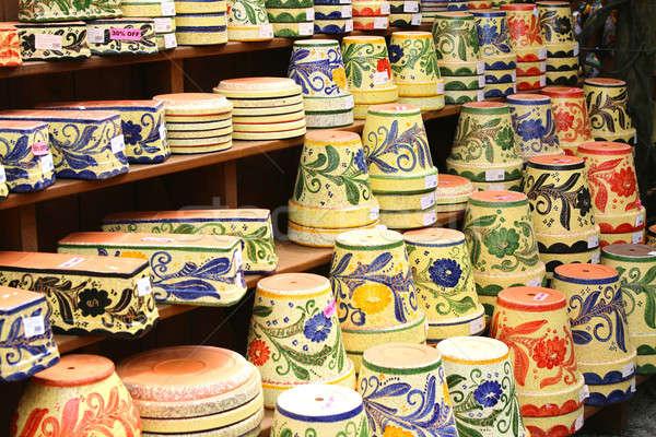 Colorful ceramic pots in Mijas Stock photo © alexmillos