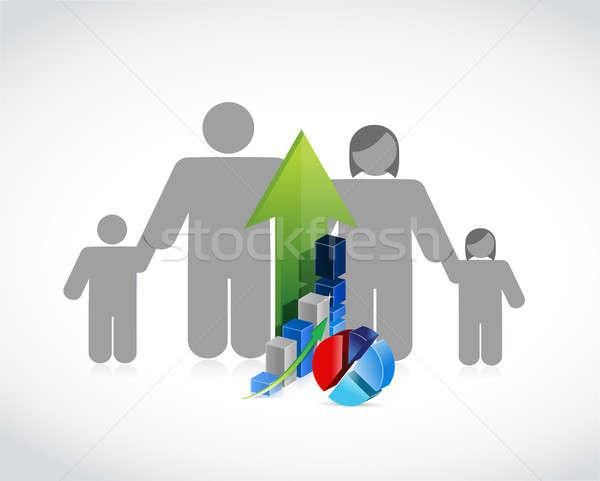 Család üzlet profit illusztráció terv fehér Stock fotó © alexmillos
