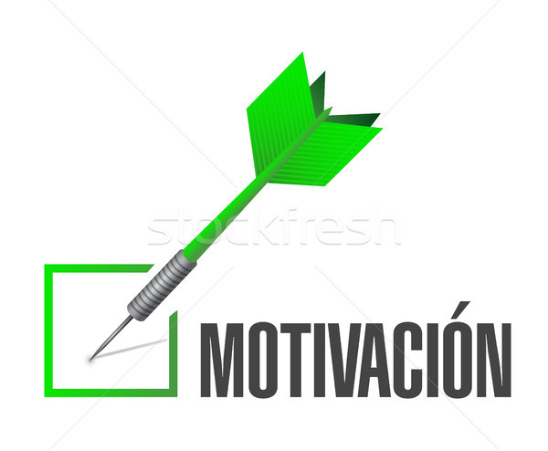 Motywacja sprawdzić dart podpisania hiszpanski ilustracja Zdjęcia stock © alexmillos