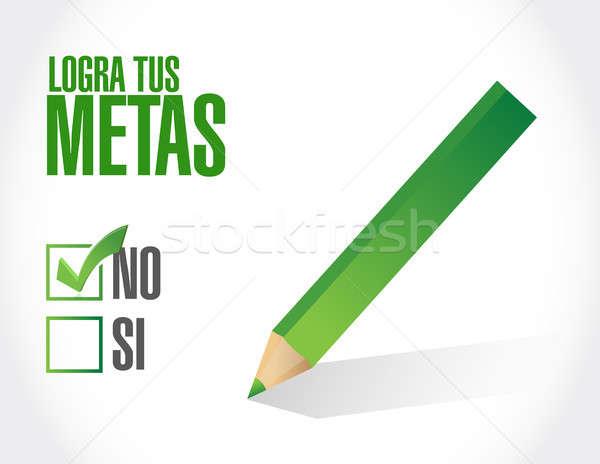 Nicht erreicht Ziele Frage Zeichen spanisch Stock foto © alexmillos