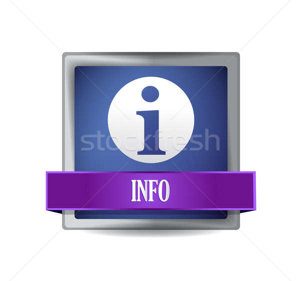 Info icon glanzend Blauw vierkante knop Stockfoto © alexmillos