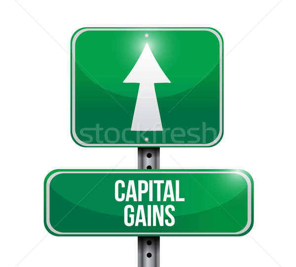 capital gains road sign illustrations Stock photo © alexmillos