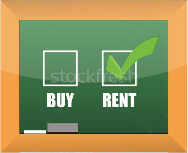 Rent not buy blackboard concept illustration design Stock photo © alexmillos