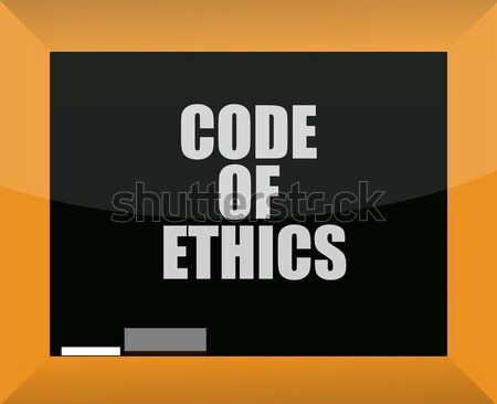 Code of ethics blackboard illustration design over white Stock photo © alexmillos