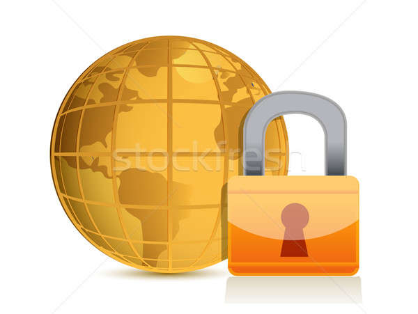 Global security concept illustration design isolated over a whit Stock photo © alexmillos