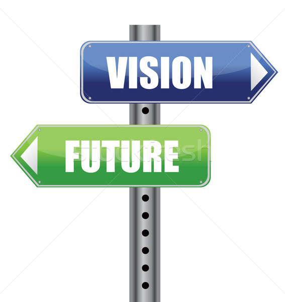 Direção placa sinalizadora visão futuro palavras ilustração Foto stock © alexmillos
