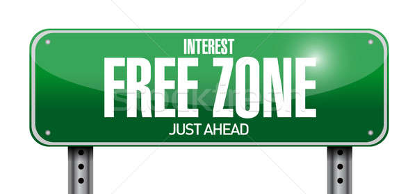 interest free zone road sign illustration design over a white ba Stock photo © alexmillos