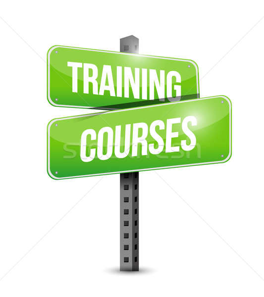 training courses road sign illustration design over a white back Stock photo © alexmillos