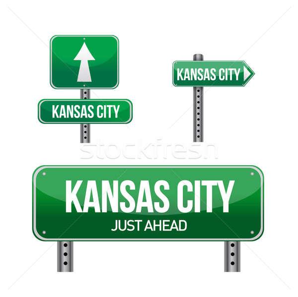 Kansas şehir yol işareti örnek dizayn beyaz Stok fotoğraf © alexmillos