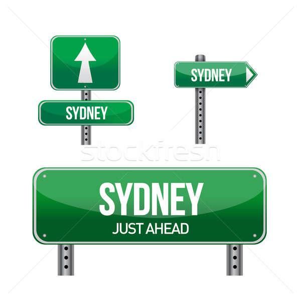 Sydney ville panneau routier illustration design blanche Photo stock © alexmillos