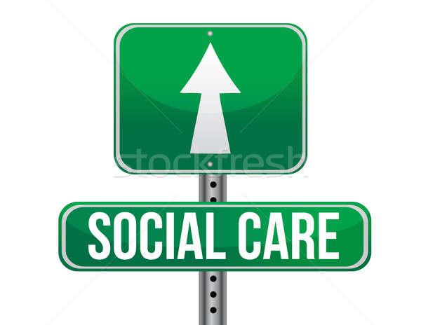 ストックフォト: 社会 · ケア · 道路標識 · 実例 · デザイン · 白