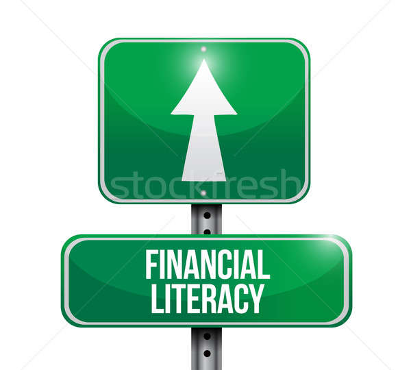 financial literacy road sign illustrations design over white Stock photo © alexmillos