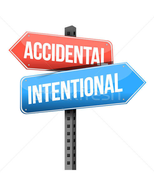 accidental, intentional road sign illustration design over a whi Stock photo © alexmillos