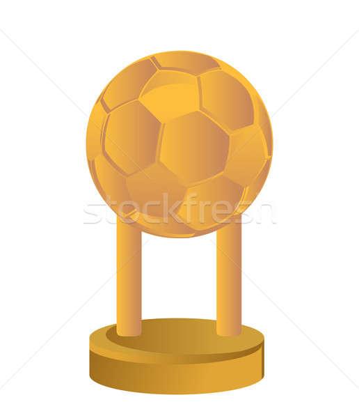 Złota trofeum kubek piłka nożna piłka nożna biały Zdjęcia stock © alexmillos