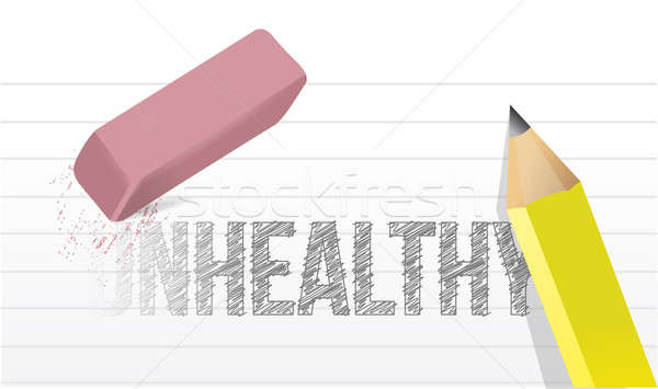 erasing unhealthy concept illustration design over a white backg Stock photo © alexmillos