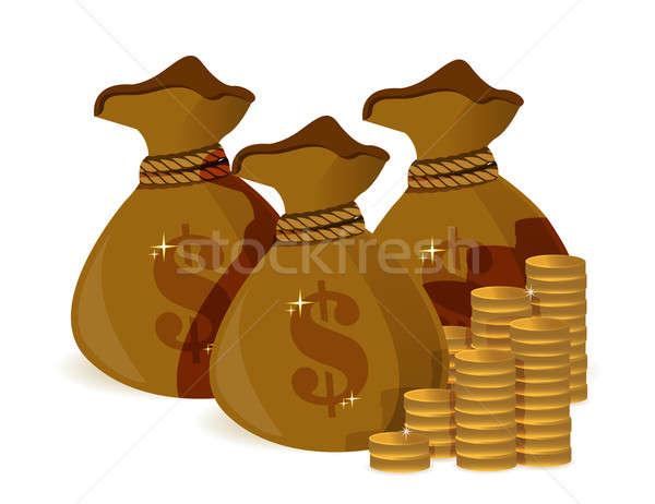 Pénz táska illusztráció terv fehér üzlet Stock fotó © alexmillos