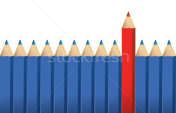 синий карандашей один красный карандаш Постоянный Сток-фото © alexmillos