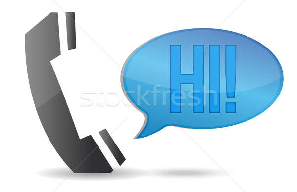 Telephone handset and speech bubble illustration design over whi Stock photo © alexmillos
