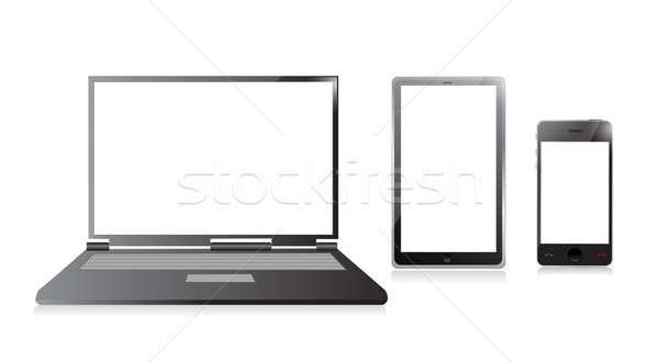 Dizüstü bilgisayar cep telefonu dijital telefon dizayn Stok fotoğraf © alexmillos