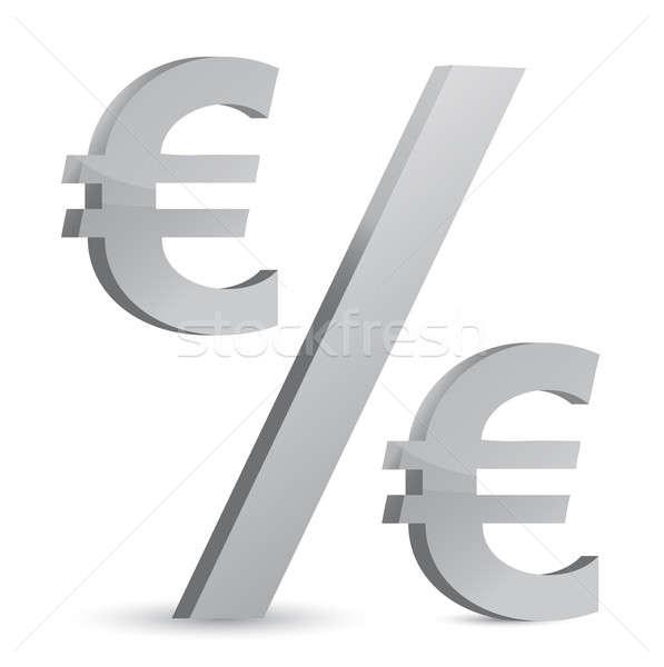 Euros moneda porcentaje negocios dinero fondo Foto stock © alexmillos