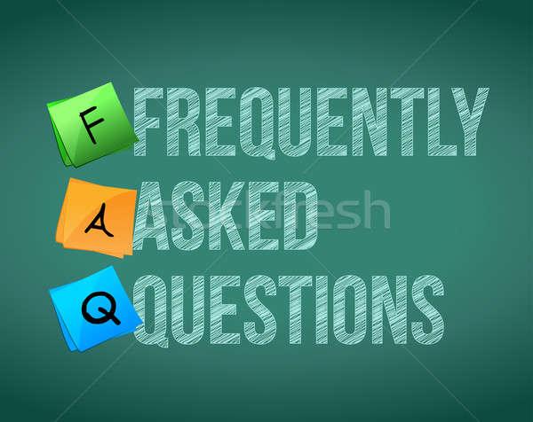 よくある質問 書く 白 チョーク 黒板 ビジネス ストックフォト © alexmillos