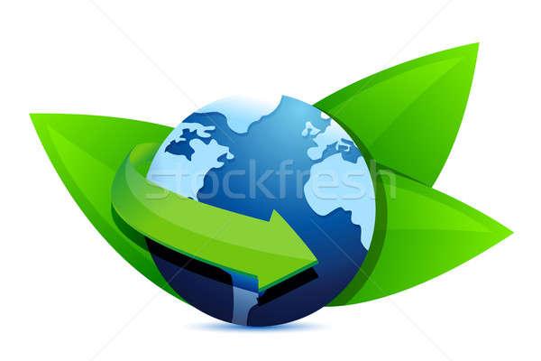 Verde terra folhas eco ilustração projeto Foto stock © alexmillos