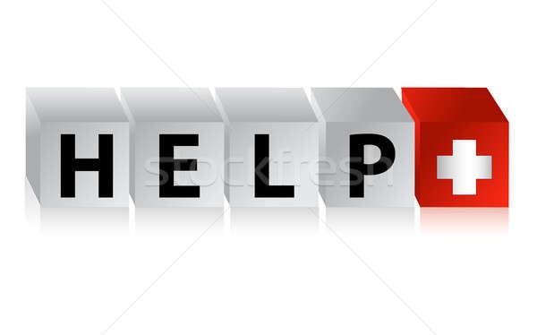 Pomoc przycisk kliknij tutaj zdrowia tle podpisania Zdjęcia stock © alexmillos