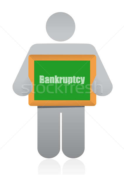 bankruptcy sign and icon illustration design over white Stock photo © alexmillos