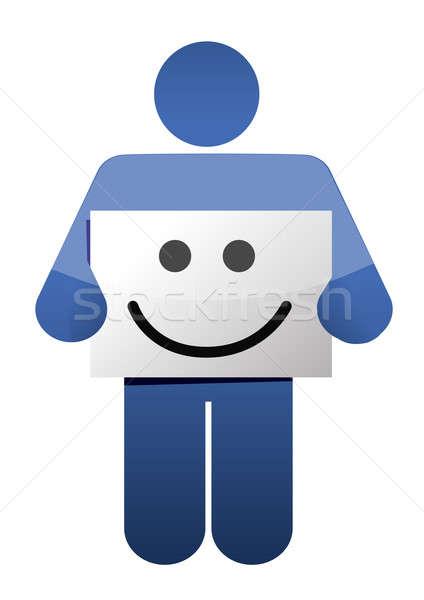 Icon glimlach gezicht teken illustratie Stockfoto © alexmillos