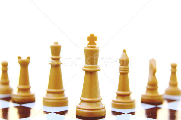 Piezas de ajedrez deporte negro bordo caballero rey Foto stock © alexmillos