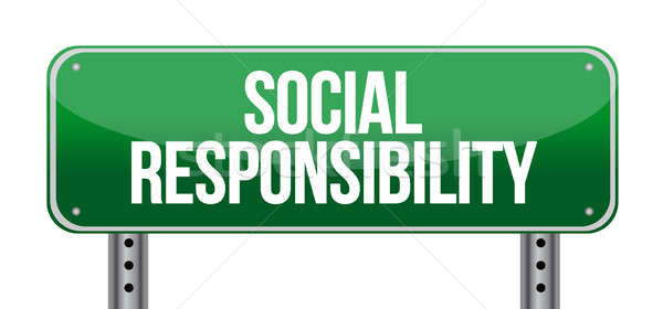 Sozialen Verantwortung Schild Illustration Design weiß Stock foto © alexmillos