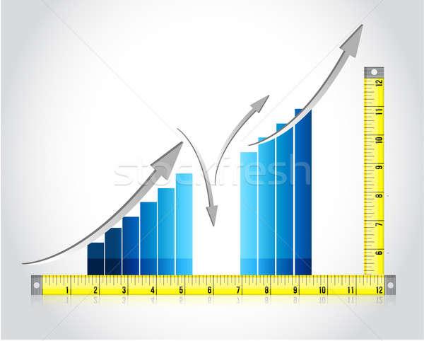 Cinta métrica gráfico de barras ilustración diseno blanco trabajo Foto stock © alexmillos