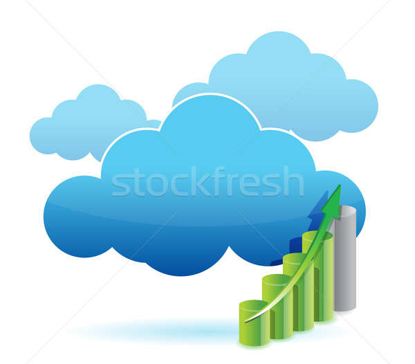 Cloud Computing Grafik Illustration Design weiß Business Stock foto © alexmillos