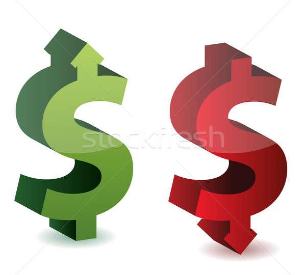 Scambio tasso dollaro crescita cadere soldi Foto d'archivio © alexmillos