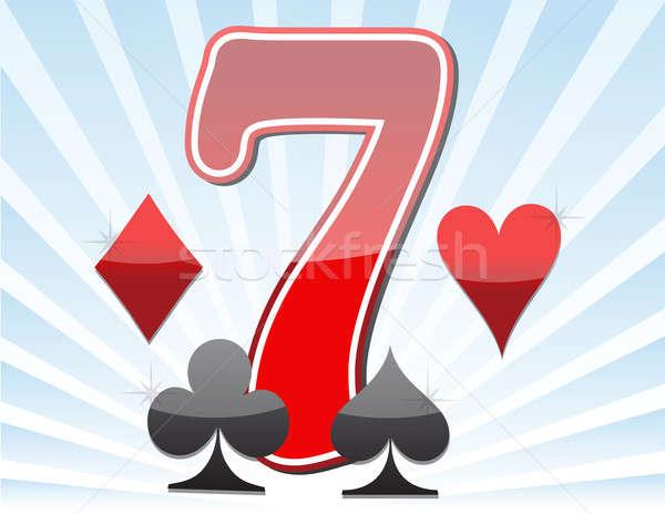 ラッキー 7 成功 ポーカー 再生 ギャンブル ストックフォト © alexmillos
