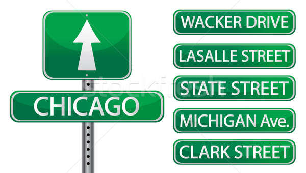 Chicago street signs isolated over white  Stock photo © alexmillos