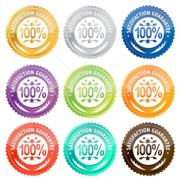 Illustration of different satisfaction guarantee labels . / Sati Stock photo © alexmillos