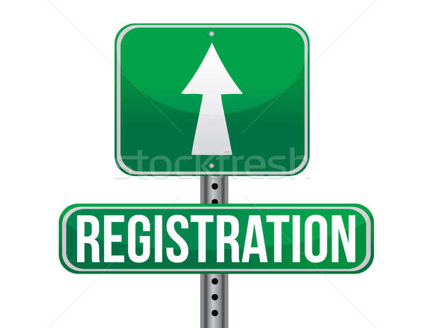 registration green traffic road sign illustration design over wh Stock photo © alexmillos
