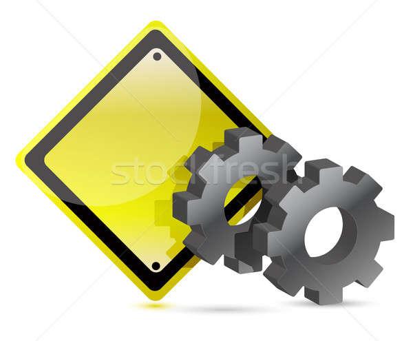 Giallo segnale stradale attrezzi illustrazione design business Foto d'archivio © alexmillos