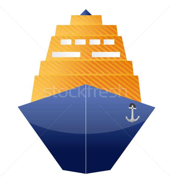 Cruiseschip illustratie ontwerp witte metaal oceaan Stockfoto © alexmillos