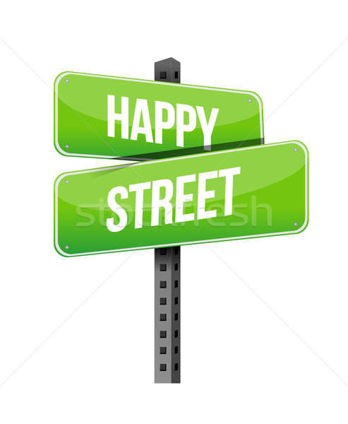 happy street road sign illustration design over a white backgrou Stock photo © alexmillos