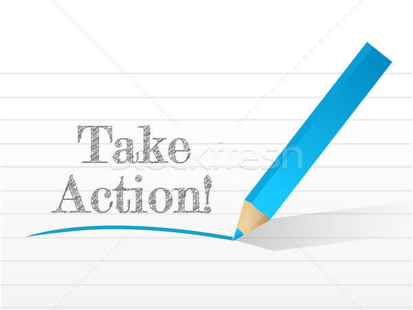 take action message written on a notepad paper Stock photo © alexmillos